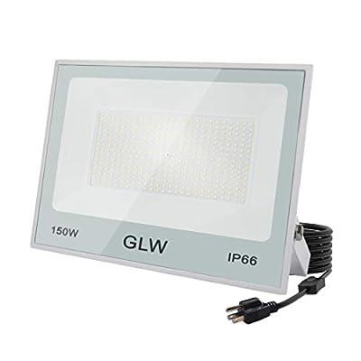 GLW LED 150W Flood Light IP66 Waterproof Super Bright Work Lights,13,000lm 6500K Daylight White Outdoor Spotlight for Garage,Playgrounds,Parking Lot,Basketball Court