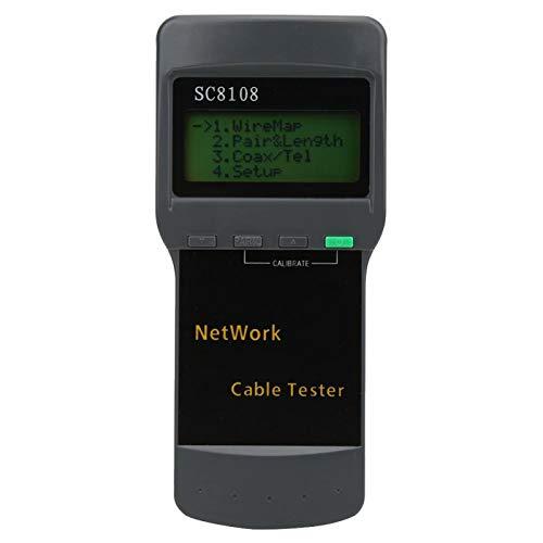 Cerlingwee Probador de Cable de Red RJ45, fácil Lectura Longitud del Cable Función de calibración dinámica Apagado automático con retardo Probador de Cable telefónico, para Uso Industrial