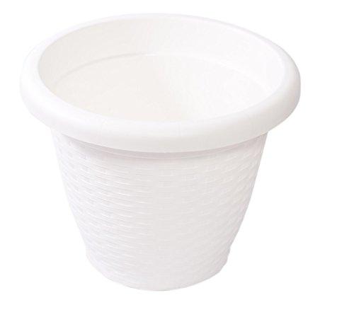 Hobby & Style 5144.0 Pot Rond rotin, Blanc, 40 x 40 x 31 cm