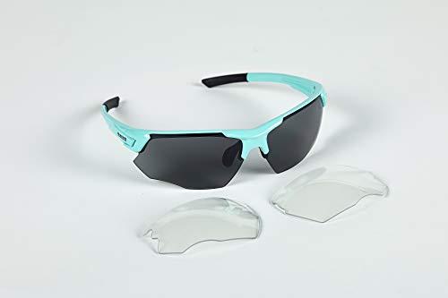 Bianchi - Gafas FALCO X color azul claro con lentes ahumadas Cat3 + lentes de repuesto Cat.0 C9350191