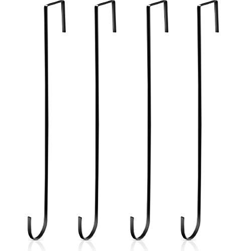 15 Pulgadas Ganchos Colgadores Corona Navideña Ganchos Negros Puerta Metal Perchas Prácticas Toallas Ropas para Decoración...