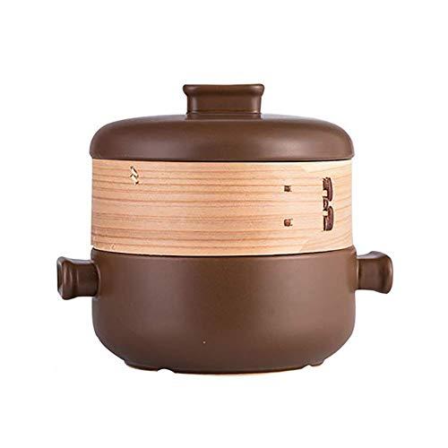 Ybzx Cocotte à Vapeur Japonaise à Deux étages, Pot de Soupe résistant à la Chaleur à Flamme Ouverte, Pot de ragoût Domestique 2.5L café en céramique 2,5 litres