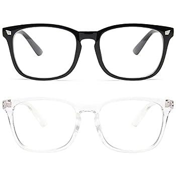livho 2 Pack Blue Light Blocking Glasses Computer Reading/Gaming/TV/Phones Glasses for Women Men,Anti Eyestrain & UV Glare  Light Blcak+Clear