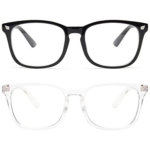 livho 2 Pack Blue Light Blocking Glasses, Computer Reading/Gaming/TV/Phones Glasses for Women Men,Anti Eyestrain & UV Glare (Light Blcak+Clear)