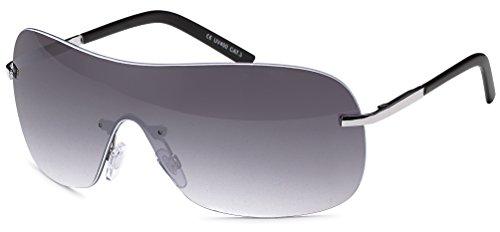 Zonnebril zonder montuur met monoglas + brillenzakje – zonnebril met doorlopende ruit.
