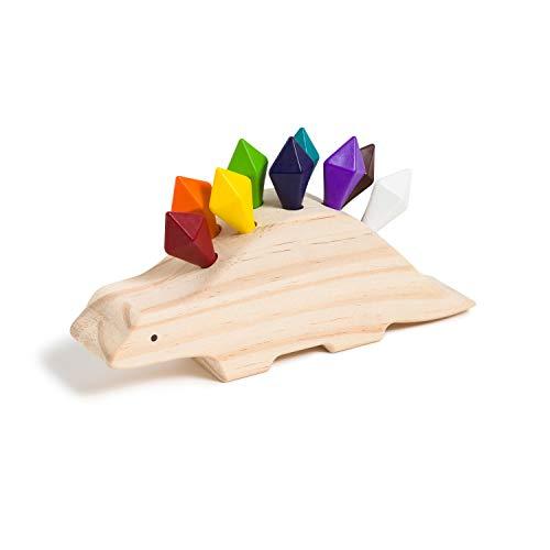 U Brands U Play Crayon-o-Saurus Dinosaur-Shaped Holder for Kids, Wooden with 10 Shaped Crayons