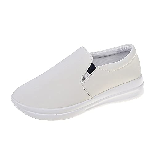 Women's Canvas Low Top Sneaker Slip on Classic Casual Shoes Black and White(White,41)