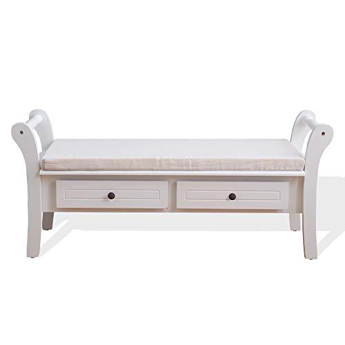 Rebecca Mobili Banco Blanco, Mueble Auxiliar contenedor con 2 cajones, Madera, Estilo provenzal, Entrada Dormitorio- Medidas: 47,5 x 108,5 x 38 cm (AxANxF) - Art. RE4506