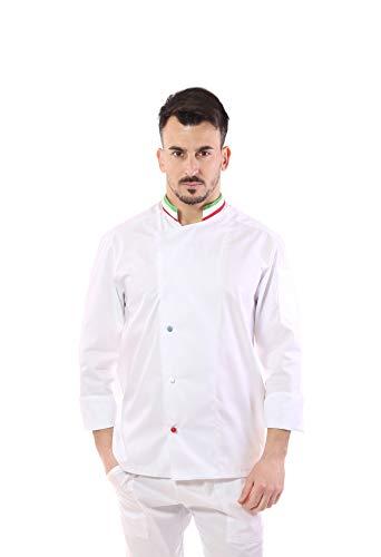 Giacca Cuoco e Chef Bianca Italia - Uomo - Bottoni Antipanico - Casacca per Ristorante e Cucina - Made in Italy (XL)