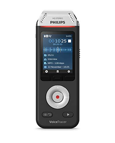 Price comparison product image Philips Voice Tracer Audio Recorder DVT2110 / 00 Digital Notes Dual Fidelity Microphone Rechargeable Battery 8GB Memory Colour Display