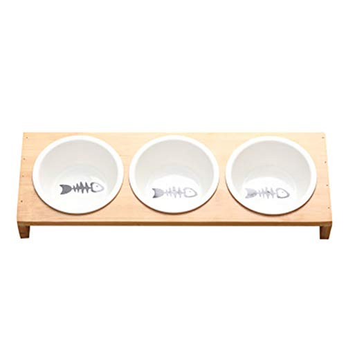 TOOGOO Mode Katze Hund Feeder Schüsseln Bambus Geschirr Keramik Tier Nahrung Wasser Schüssel Hoch Gradige Rutschfeste Heimtier Bedarf Hund Katze Schüssel L
