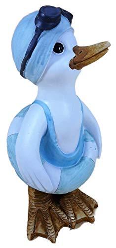 N / A Schwimm Ente Mann mit Taucherbrille und Rettungsring 22 x 11 cm Garten Tier Figur Deko 51168 B