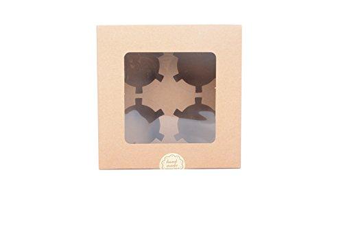 Juego de 12 cajas de papel Kraft para cupcakes con ventana de PVC/pieza de cartón 4 titulares-kraft