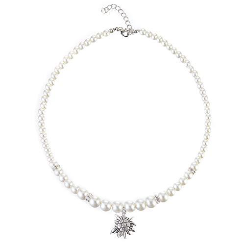 MJARTORIA Oktoberfest Schmuck Accessoires Dirndl Damen Kette Perlenkette Weiß Perlen mit Edelweiß Anhänger Charms Trachtenschmuck 50cm