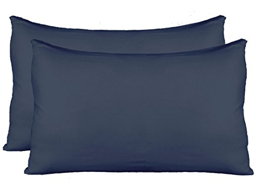 Stretch Jersey Pillow Cases with Invisible Zipper, Universal Size fit All King, Queen and Standard Size Pillows, Modal Rayon Spandex 180 Gram, Soft Than Cotton, Pack of 2, Navy