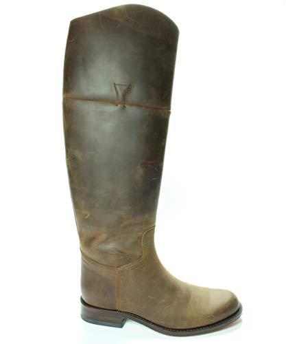 Sendra Boots 6629 Chanel Braun Damen Reitstiefel Runde Nase Flache Absatz Reißverschluss Vintage Look Echtes Leder Größe 36