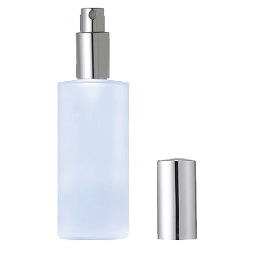 Grand Parfums Empty 120ml Refillable Frosted Glass Perfume or Cologne Spray Bottle 4 Ounce Empty with Silver Metallic Fine Mist Spray Applicator