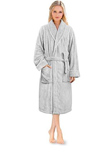 Albornoz de forro polar para mujer, ultrasuave, cálida, acogedora bata de spa | Lujoso albornoz ligero de felpa, Melange gris claro, S-M