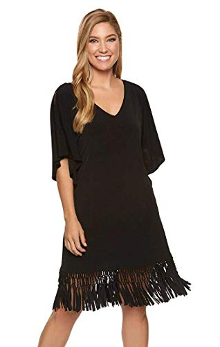 Dotti Island Macrame Cold-Shoulder Caftan Cover-Up Black SM