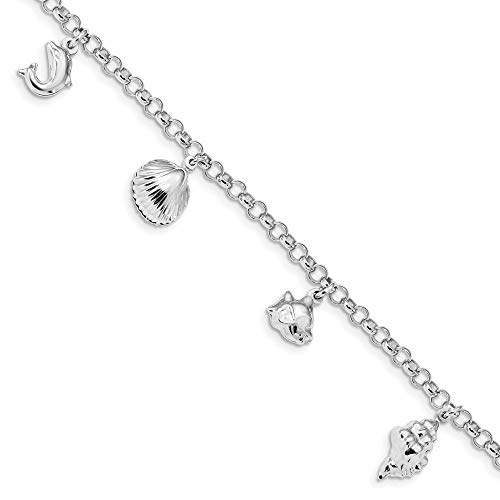 3mm 925 Sterling Silver Rhodium Plated Beach Theme Charm Bracelet Jewelry Gifts for Women - 18 Centimeters