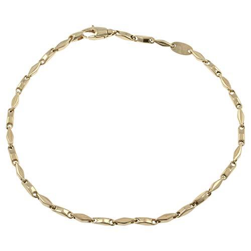 Gioiello Italiano – Pulsera para hombre de oro de 14 quilates, dos colores, longitud 20 cm