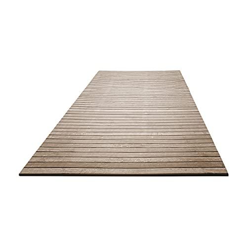 NuvolaNera Tappeto arredo bagno e cucina in bambù effetto slavato rifinito a mano – Retro antiscivolo in EVA – 50x75 cm Beige