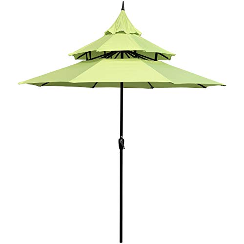 ABBLE Outdoor Patio Umbrella 9 Ft Pagoda with Crank, Weather Resistant, UV Protection, Water Repellent, Durable, 8 Sturdy Steel Ribs, 3 Tier Vented Market Outdoor Table Umbrella,Lime Green