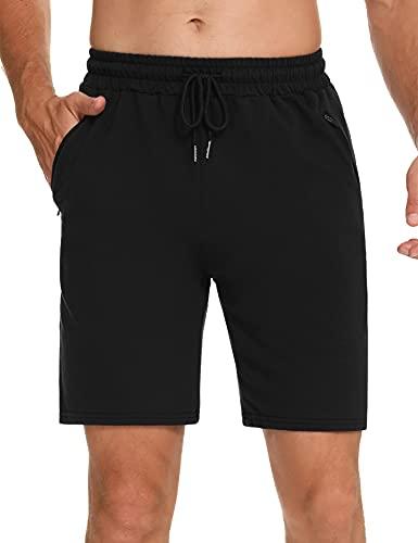 Wayleb Pantalones Cortos Deportivos Hombre Algodón Shorts Deportivos Bolsillo con Cremallera Bermuda Deporte de Running Correr Verano Pijama Cordón Elástico,Negro,S
