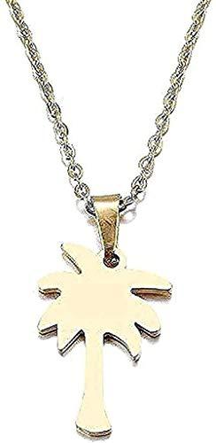 WYDSFWL Collar con Colgante de árbol de Coco, Collar de Acero Inoxidable, Regalo de Compromiso.
