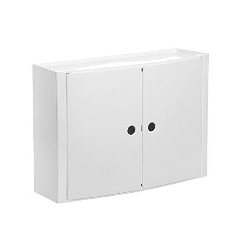 Tatay Armario plástico Horizontal, Color Blanco, 2 Puertas sin pomos, y Estante Interior removible.