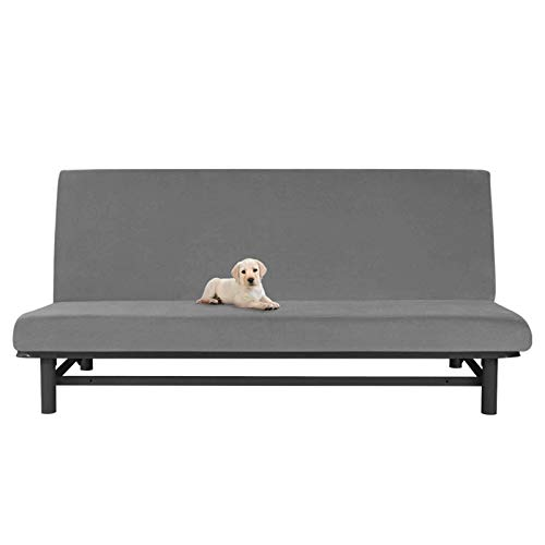 ZHFEL Super Stretch Futon Slipcover Full Size,Futon Cover Mattress Cover Foldable Furniture Protector Washable Anti-Scratch Armless Sofa Bed Cover for Living Room Pets-Dark gray