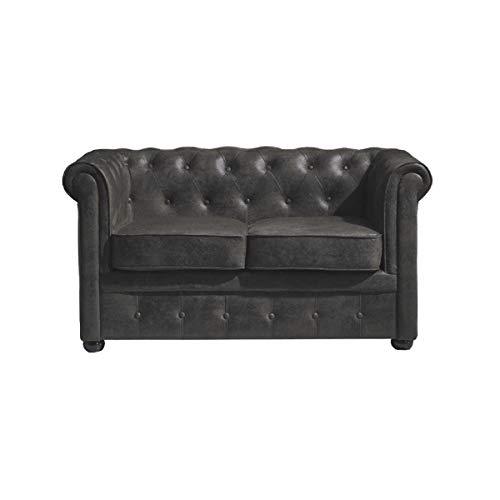 Italian Design - Sofá Chester Gris, sofá 2 plazas - Sofá Chesterfield Color Gris, Medidas: 132x71x77 cm