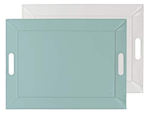 FREEFORM DUO - 2in1 wendbares Tablett & Tischset, mint/grau, Kunstleder, Maße: 55 x 41 cm