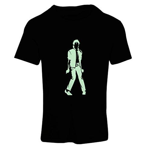 lepni.me Camiseta Mujer Me Encanta M J - Rey del Pop, 80s, 90s Músicamente Camisa, Ropa de Fiesta (Medium Negro Fluorescente)
