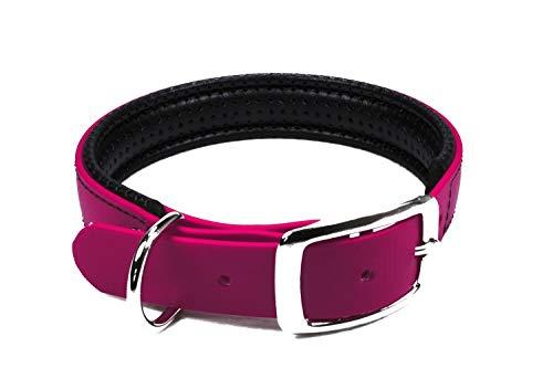 LENNIE BioThane Halsband, gepolstert, Dornschnalle, 19 mm breit, Größe 22-28 cm, Magenta, Aufdruck möglich