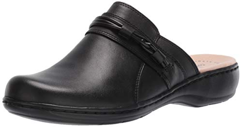 Clarks Women's Leisa Clover Clog, Black Leather, 90 M US
