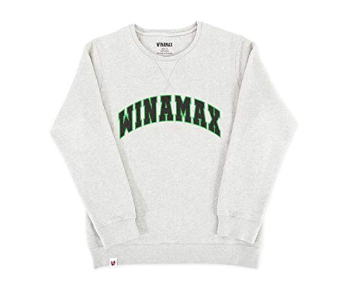 WINAMAX Sweatshirt Crewneck Femme Gris Chiné Logo Varsity Vert/Noir - M
