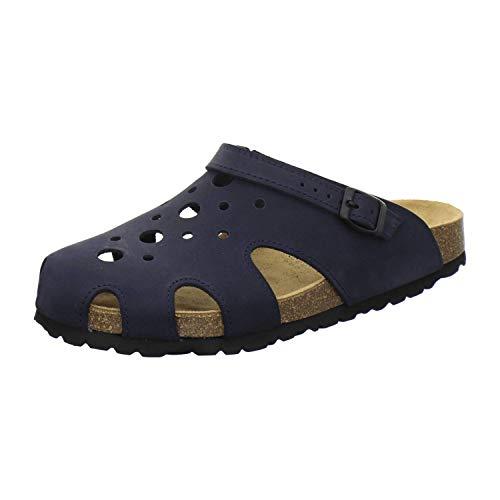 AFS-Schuhe 2993C Clogs Damen aus Leder, Bequeme Hausschuhe für Frauen, praktische Arbeitsschuhe, Made in Germany (39 EU, Navy)