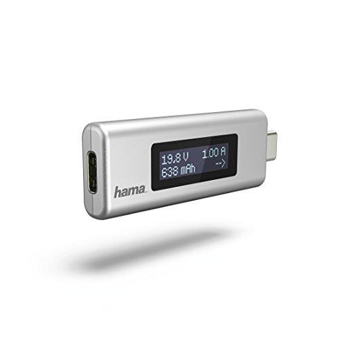 Hama Digitales USB-C Messgerät für Strom, Spannung und Kapazität (Multimeter zur Anzeige von A/V/mAH und Stromflussrichtung während des Ladens, mit Display) Ladungsmengen-/Spannungs-/Strommesser