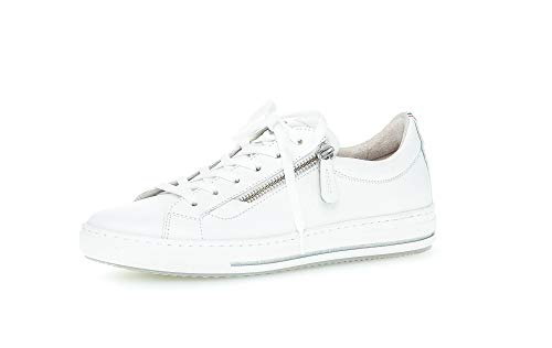 Gabor Damen Sneaker, Frauen Low-Top Sneaker,Comfort-Mehrweite,Reißverschluss,Wechselfußbett, weibliche Women,Weiss (Multic.),38.5 EU / 5.5 UK