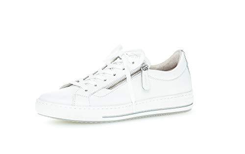 Gabor Damen Sneaker, Frauen Low-Top Sneaker,Comfort-Mehrweite,Reißverschluss,Optifit- Wechselfußbett, Frauen Ladies,Weiss (Multic.),38 EU / 5 UK