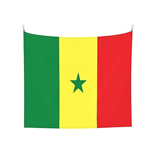 Wandbehang mit der Flagge von Senegal, Boho, beliebt, mystisch, Trippy Yoga, Hippie, Wandteppiche für Wohnzimmer, Schlafzimmer, Wohnheim, Heimdekoration, Schwarz & Weiß Stranddecke