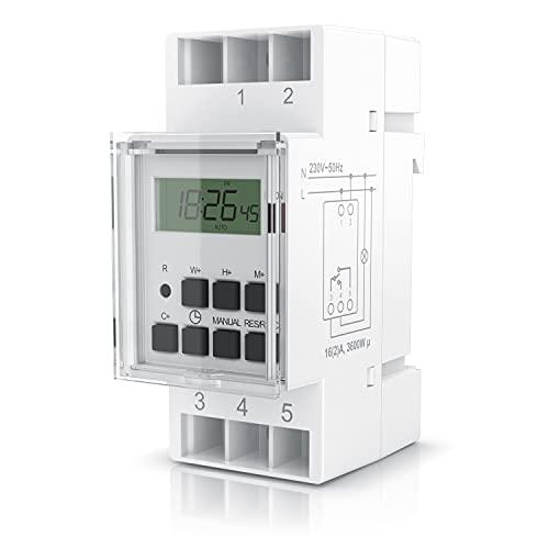 Bearware - Interruptor eléctrico - Temporizador Digital para Carril DIN en Cuadros de distribución - 16A/3680W - Pantalla LCD - 20 programas - 16 configuraciones de días - Modo Manual - Color Blanco