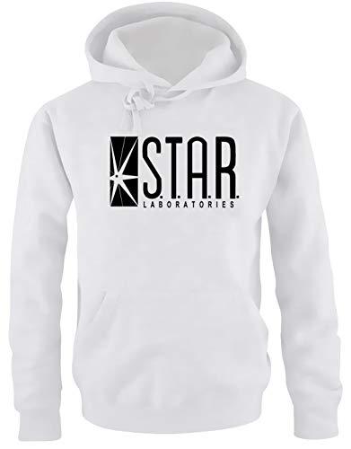 S.T.A.R. Laboratories Hoodie Sweatshirt mit Kapuze Weiss-schwarz Uni Gr.L
