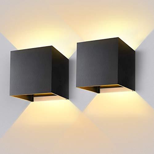 Lureshine LED Wandleuchte 12W Innen/Außen,Wandlampe 3000K Warmweiß 1000LM,IP65 Wasserdicht Außenwandleuchte mit Einstellbar Abstrahlwinkel Modern Design Schwarz