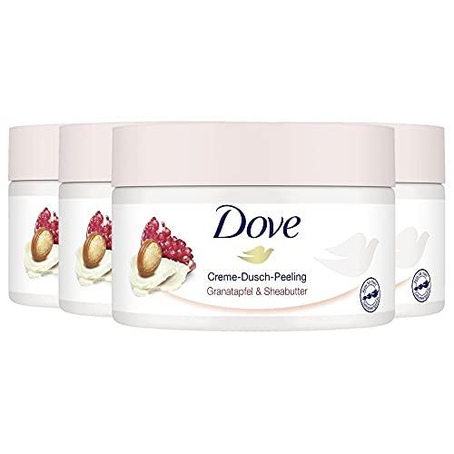 Dove Creme-Dusch-Peeling 4er Pack für seidig glatte Haut Granatapfel & Sheabutter mit reichhaltiger Textur (4 x 225 ml)