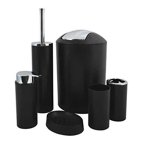 MSV Badezimmer Set, 6-teiliges Badzubehör Seifenspender, WC Bürste, Seifenschale, Kosmetikeimer und Zahnputzbecher Schwarz matt