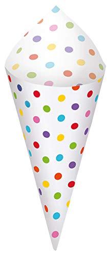 amscan 149300 40 Spitztüten Paper Minis mit Halterung, Regenbogenfarben