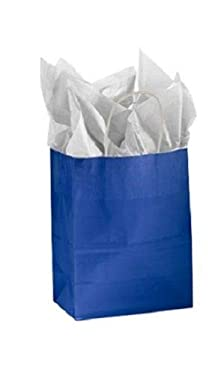 """Buy All Store Paper Shopping Bags 100 Glossy Royal Blue Retail Merchandise 8 ¼"""" x 4 ¾""""D x 10 ½"""