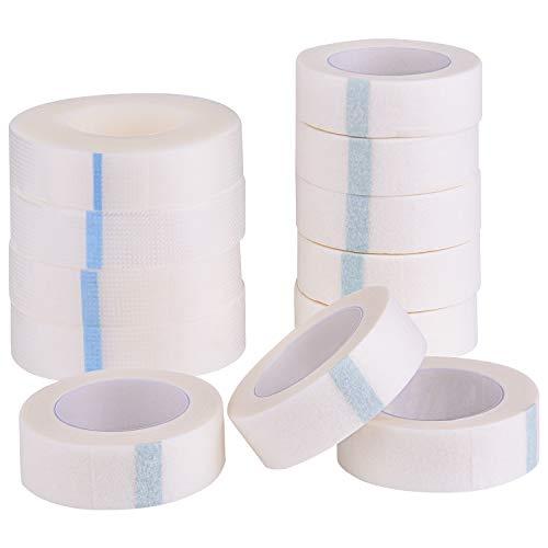 FEPITO 8 Rolls Eyelash Fabric Tape und 4 Rolls Micropore Tape White Wimpernklebeband zur Wimpernverlängerung